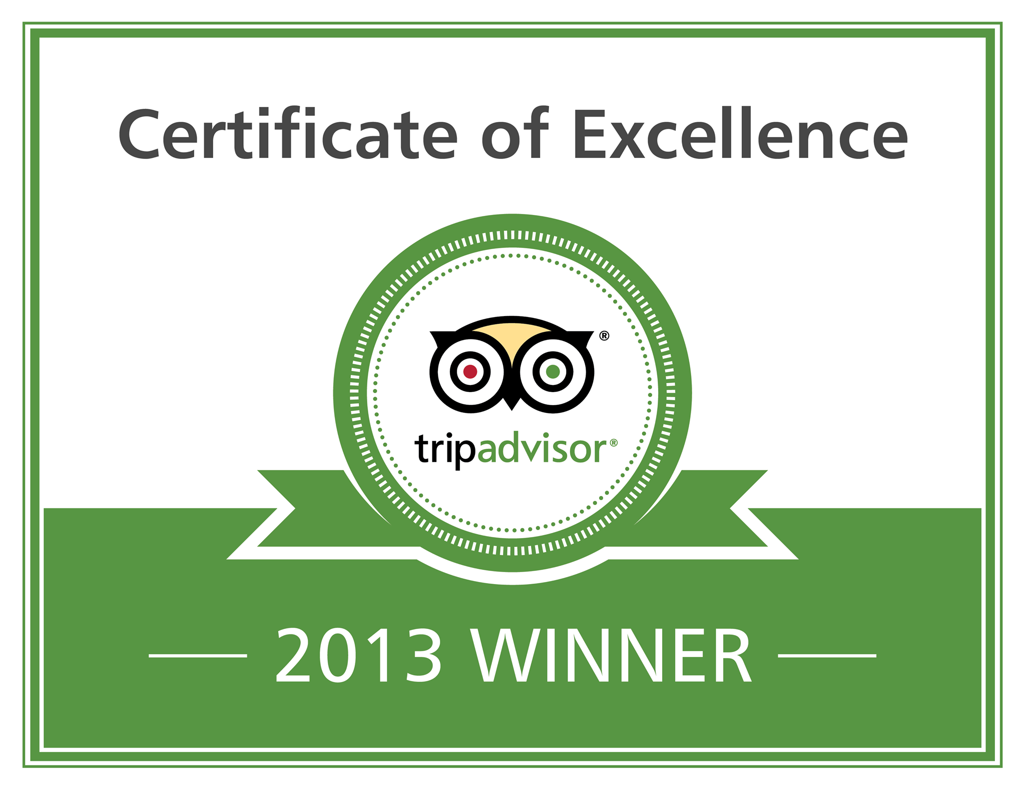 Somewhere Restaurant Trip Advisor 2013 Certificate of Excellence – Congratulations Certificate